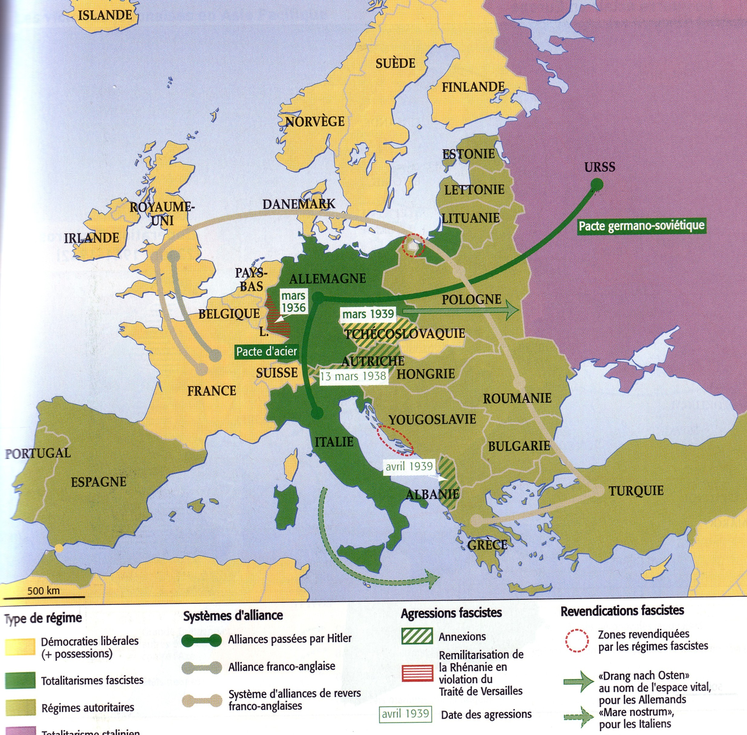 carte europe annees 30
